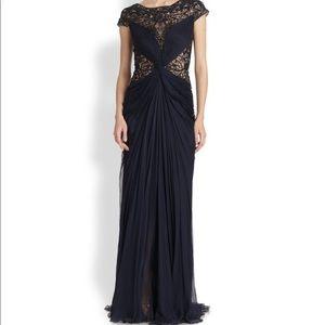 Tadashi Shoji Navy Blue Beaded Silk Evening Gown